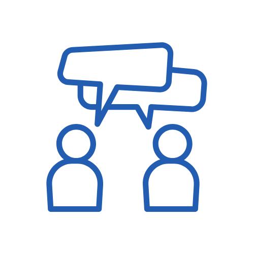 granatowa ikona - rozmowa dwóch osób