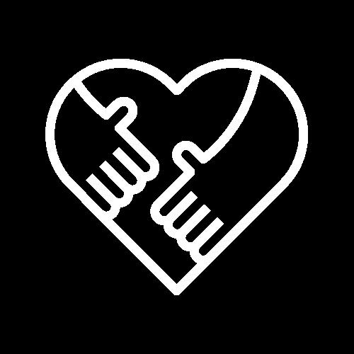 biała ikona - serce ze zbliżającymi się do siebie dłońmi
