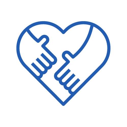 granatowa ikona - serce ze zbliżającymi się do siebie dłońmi
